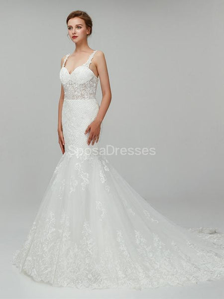 See Through Straps Lace Mermaid Cheap Wedding Dresses Online, Unique Bridal Dresses, WD558