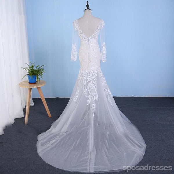 Long Sleeve Detachable Skirt Lace Mermaid Wedding Bridal Dresses, Cheap Custom Made Wedding Bridal Dresses, WD275