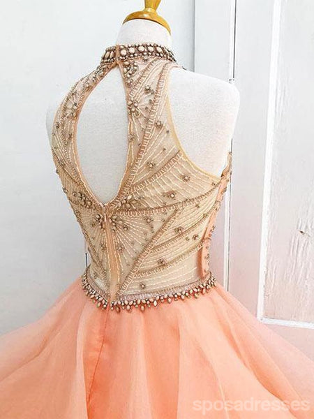 Sexy Open Back Orange Halter Delicate Beading Long Evening Prom Dresses, 17347