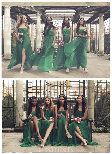 On Sale Straight Neckline Green Chiffon Pleating Long Bridesmaid Dresses, WG57