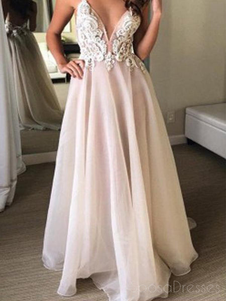 Sexy Backless Spaghetti Straps Lace Long Cheap Evening Prom Dresses, 17536