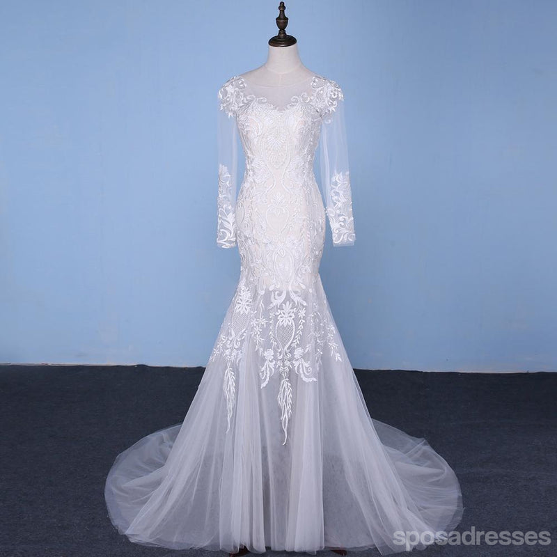 Long Sleeve Detachable Skirt Lace Mermaid Wedding Bridal Dresses ...