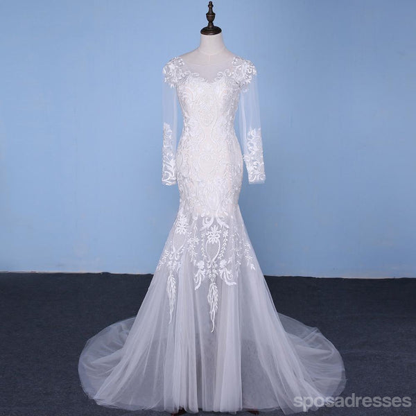 Long sleeve lace mermaid wedding dresses sexy see through for Custom mermaid wedding dress