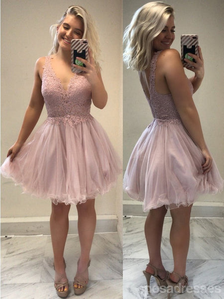 Sexy Backless Pale Pink V Neck Short Cheap Homecoming Dresses Online, CM582