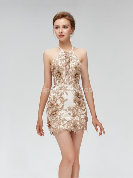 Gold Lace Sparkly Halter Cheap Homecoming Dresses Online, Cheap Short Prom Dresses, CM815