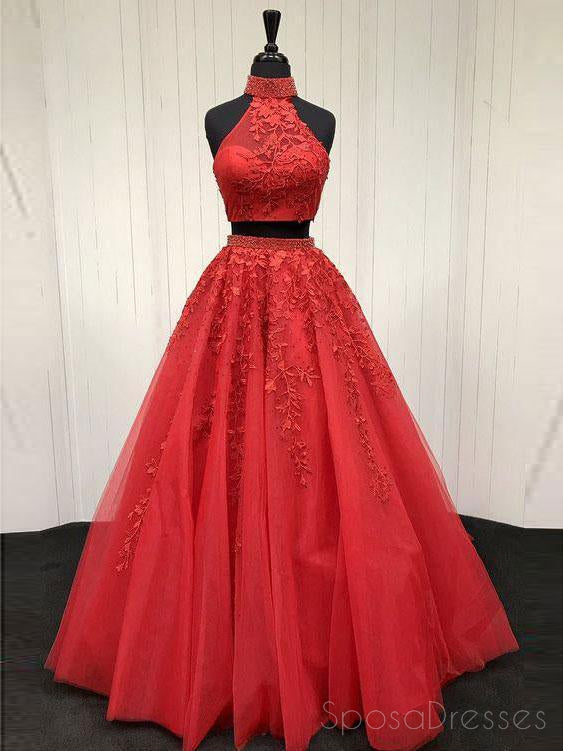 Sexy Open Back Two Pieces Halter A line Red Lace Long Custom Evening Prom Dresses, 17393