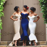 Unique Mermaid Off Shoulder Sweet Heart Charming Long Bridesmaid Dress, WG58