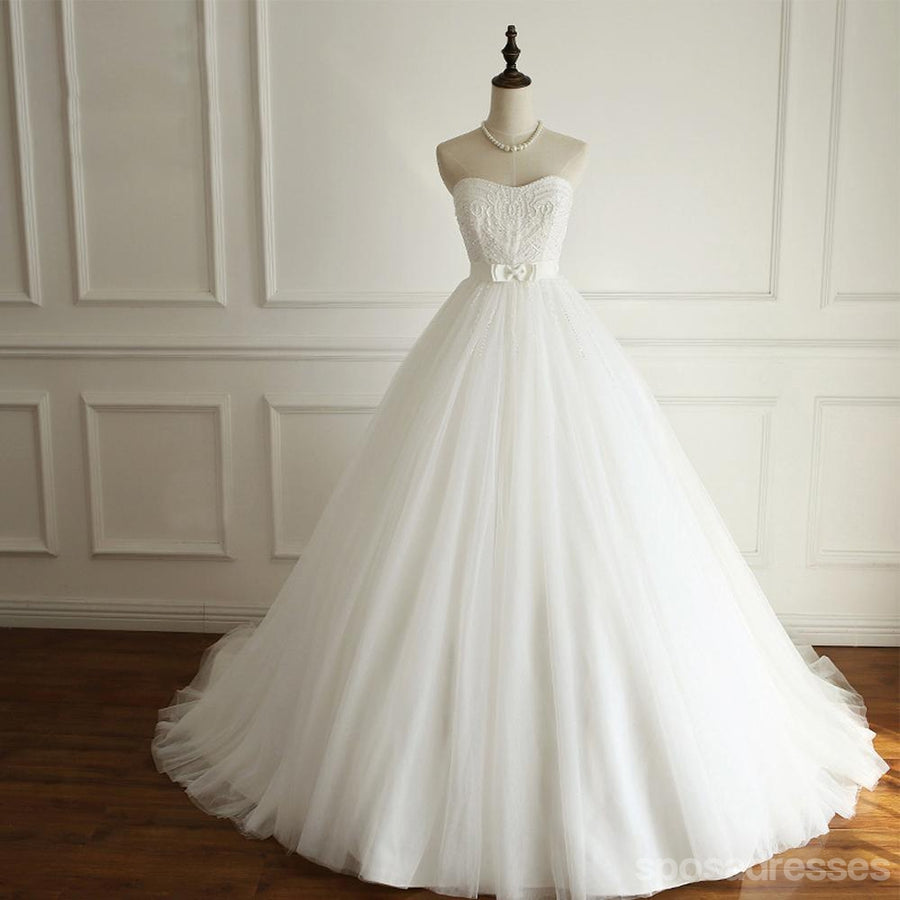 Simple Strapless A Line Pearls Beaded Wedding Bridal Dresses, Cheap Custom  Made Wedding Bridal Dresses