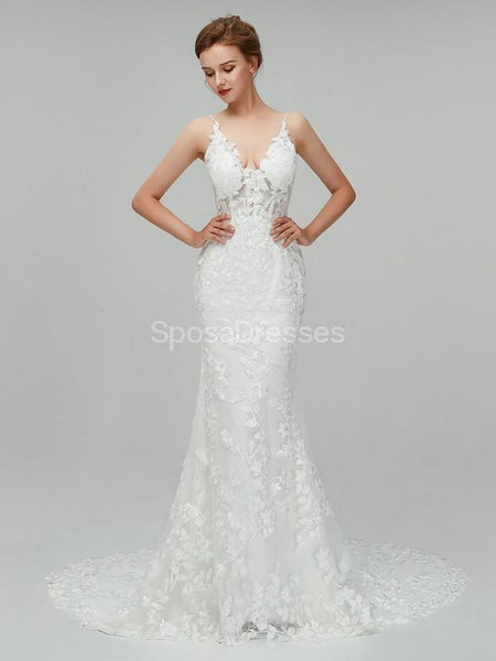 Classic Lace Straps Mermaid Cheap Wedding Dresses Online, Unique Bridal Dresses, WD560