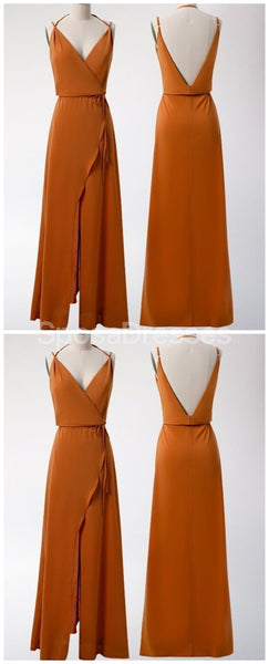 Burnt Orange Cheap Long Simple Bridesmaid Dresses Online, Cheap Bridesmaids Dresses, WG721