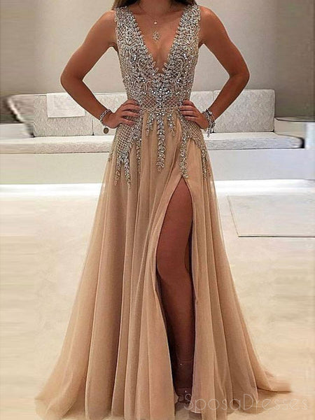 Sexy See Through Delicate Beading Side Slit Tulle Long Evening Prom Dresses, 172344