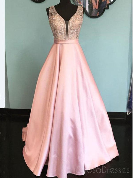V Neck Pink A line Heavliy Beaded Long Evening Prom Dresses, 17540