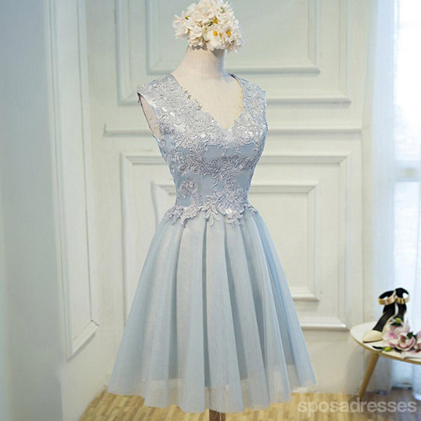 Popular V Neckline Gray Lace Tulle Short Homecoming Prom Dresses, Affordable Short Party Prom Sweet 16 Dresses, Perfect Homecoming Cocktail Dresses, CM365