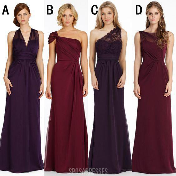 Cheap Mismatched Chiffon Long Bridesmaid Dresses, Affordable Unique Custom Long Bridesmaid Dresses, Affordable Bridesmaid Gowns, BD112