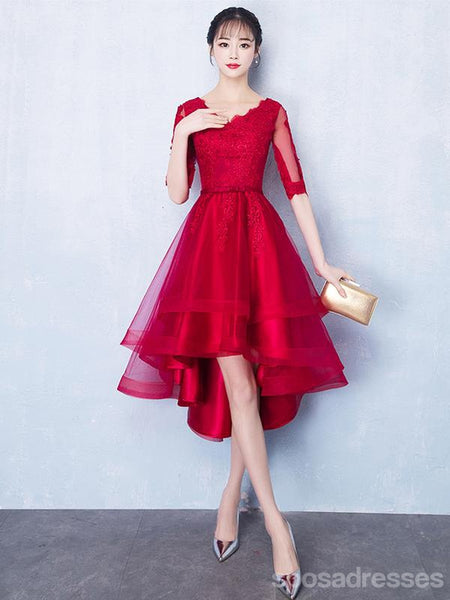 Long Sleeves Red Lace High Low Cheap Homecoming Dresses Online, CM699