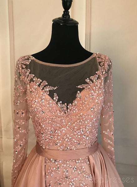 Long Sleeve See Through Heavily Beaded Dusty Pink Long Evening Prom Dresses, Popular Cheap Long 2018 Party Prom Dresses, 17228