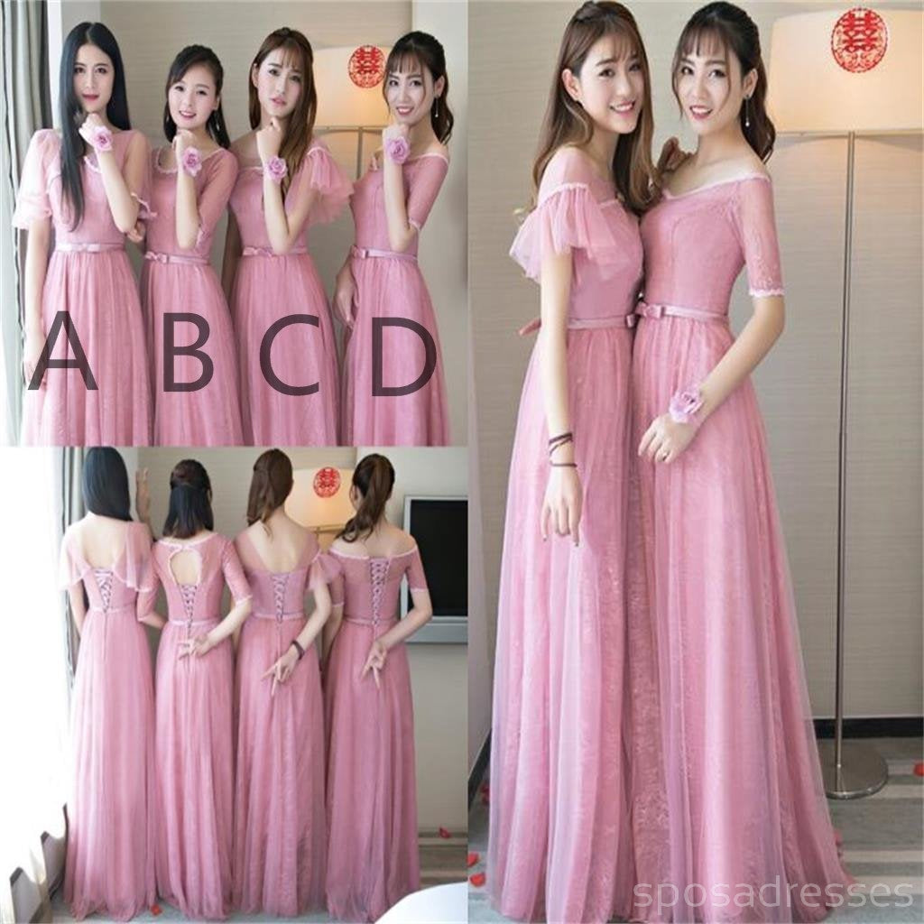 Cute pink lace tulle long bridesmaid dresses mismatched custom cute pink lace tulle long bridesmaid dresses mismatched custom long bridesmaid dresses cheap bridesmaid gowns bd004 ombrellifo Image collections