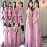 Cute Pink Lace Tulle Long Bridesmaid Dresses, Mismatched Custom Long Bridesmaid Dresses, Cheap Bridesmaid Gowns, BD004