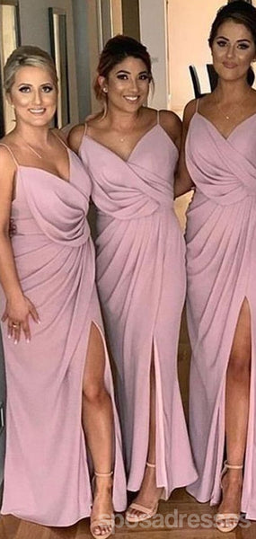 Side Slit Spaghetti Straps Dusty Pink Cheap Bridesmaid Dresses Online,WG759