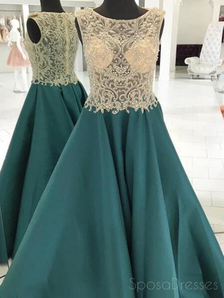 See Through Heavily Beaded Bateau Green A-line Long Evening Prom Dresses, 17574