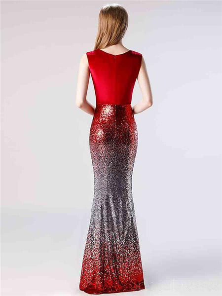 V Neck Ombre Sequin Mermaid Evening Prom Dresses, Evening Party Prom Dresses, 12115