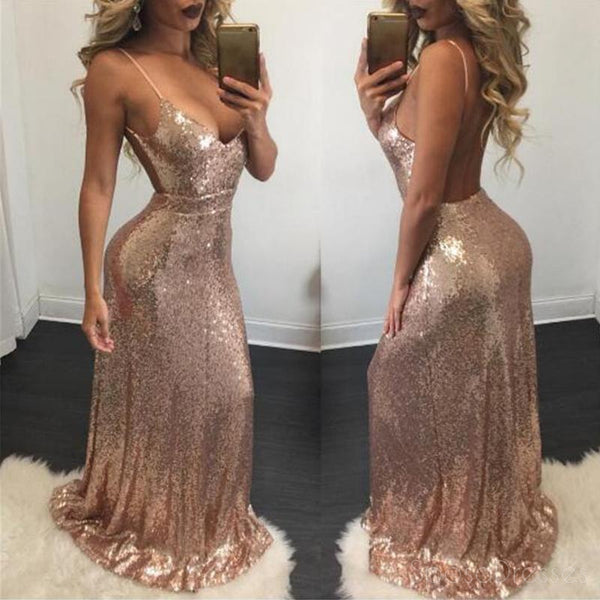 f207233880 Sexy Backless Rose Gold Sequin Mermaid Evening Prom Dresses, Popular Sparkly  Sequin Party Prom Dresses