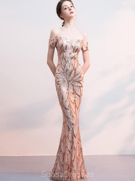 Off Shoulder Rose Gold Sequin Mermaid Long Evening Prom Dresses, Evening Party Prom Dresses, 12324