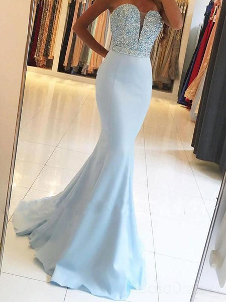 Long Strapless Sweetheart Mermaid Prom Dress
