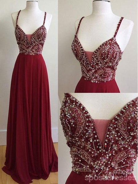 Sexy Backless Maroon Deep V Neckline Heavily Beaded A line Long Evening Prom Dresses, Popular Cheap Long 2018 Party Prom Dresses, 17262