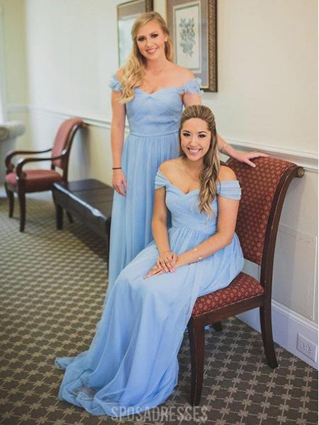 Blue Mismatched Off Shoulder Chiffon Cheap Long Bridesmaid Dresses Online, WG284