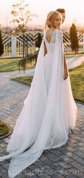 Unique Design beaded Beach Long Wedding Dresses Online, Cheap Bridal Dresses, WD529