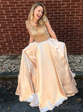 Cap Sleeves A-line Rhinestone Long Evening Prom Dresses, Sparkly Sweet 16 Dresses, 18335