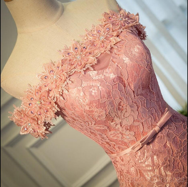 Sexy Off Shoulder Peach Lace Long Evening Prom Dresses, Popular 2018 Party Prom Dresses, Custom Long Prom Dresses, Cheap Formal Prom Dresses, 17215