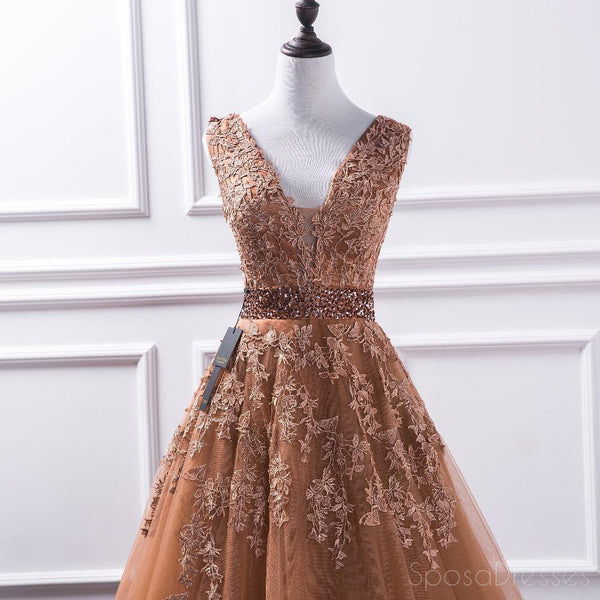 Sexy Deep V Neckline Brown A line Lace Long Evening Prom Dresses, Popular Cheap Long 2018 Party Prom Dresses, 17237