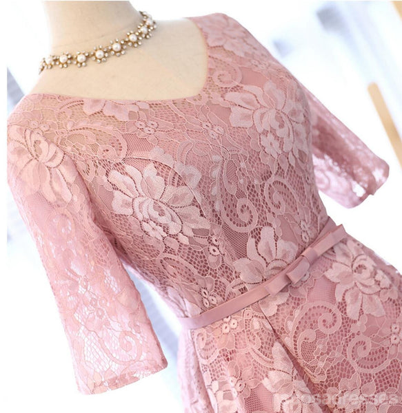 Long Sleeve Lace High Low Pink Homecoming Prom Dresses, Affordable Short Party Prom Sweet 16 Dresses, Perfect Homecoming Cocktail Dresses, CM330