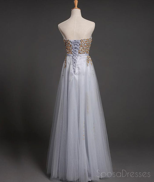 Strapless Sweetheart Grey Tulle Beaded A-line Long Evening Prom Dresses, 17618