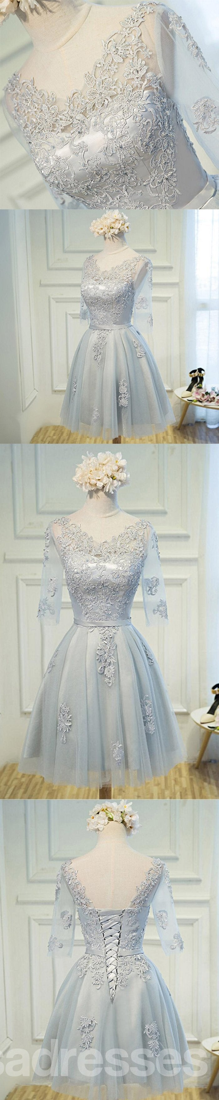 Long Sleeve V Neckline Gray Lace Tulle Short Homecoming Prom Dresses, Affordable Short Party Prom Sweet 16 Dresses, Perfect Homecoming Cocktail Dresses, CM366
