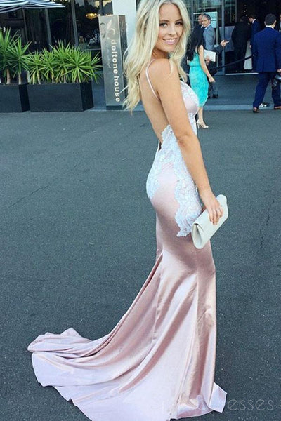 Popular Blush Pink Sweetheart Mermaid Backless Long Evening Prom Dresses, 17691