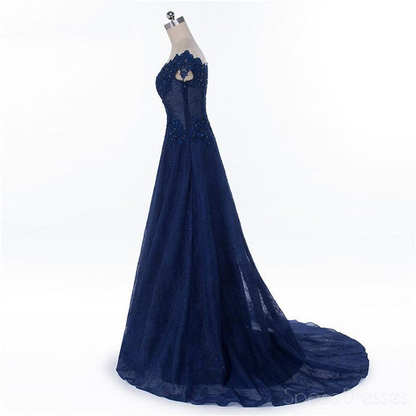 Cap Sleeve Navy Blue See Through A line Lace Beaded Long Evening Prom Dresses, Popular Cheap Long 2018 Party Prom Dresses, 17229