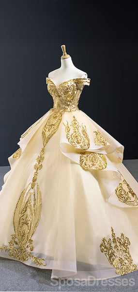 Off Shoulder Gold Applique Ball Gown Wedding Dresses, Gold Wedding Gown, WD709