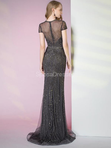 Grey Cap Sleeves Mermaid Heavily Beaded Long Evening Prom Dresses, Evening Party Prom Dresses, 12290