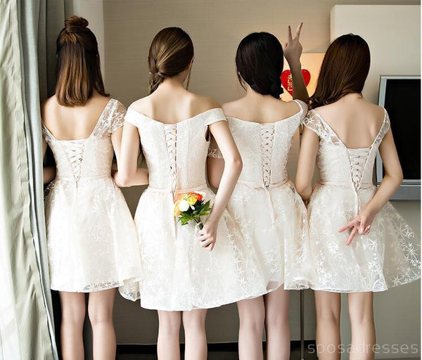Mismatched Lace Short Bridesmaid Dresses, Cheap Custom Long Bridesmaid Dresses, Affordable Bridesmaid Gowns, BD022