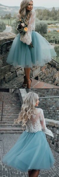 Long Sleeve Lace Short Homecoming Dresses, Cheap Party Prom Sweet 16 Dresses, CM563