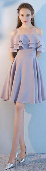 Cheap Gray Short Mismatched Simple Short Bridesmaid Dresses Online, WG506