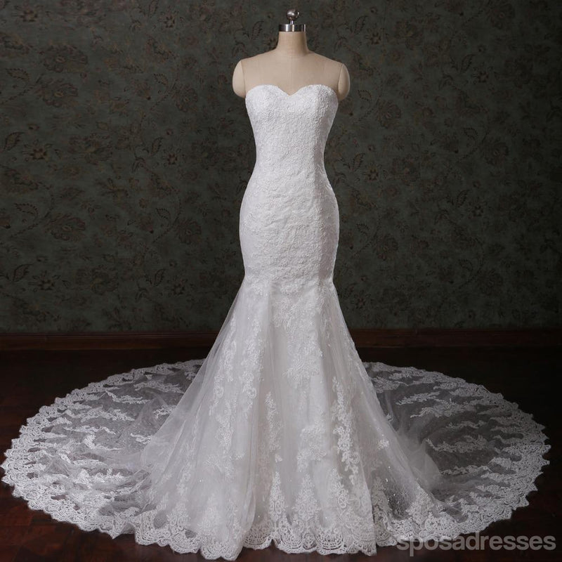 Sweetheart Strapless Lace Mermaid Pearls Beaded Wedding Bridal Dresses, Cheap Custom Made Wedding Bridal Dresses, WD278