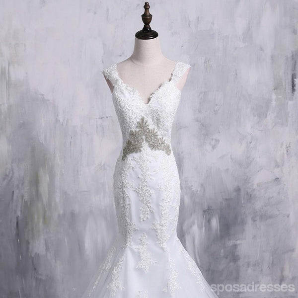 Sexy Backless Cap Sleeve Detachable Skirt Lace Mermaid Wedding Bridal Dresses, Cheap Custom Made Wedding Bridal Dresses, WD279