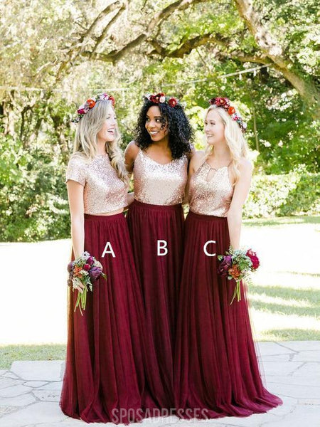 Short Sleeves Gold Sequin Burgundy Skirt A-line Long Bridesmaid Dresses Online, WG253