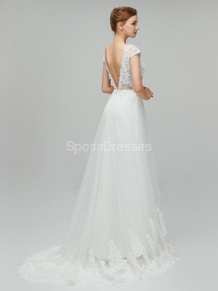 See Through Backless Cap Sleeves Cheap Wedding Dresses Online, Unique Bridal Dresses, WD562