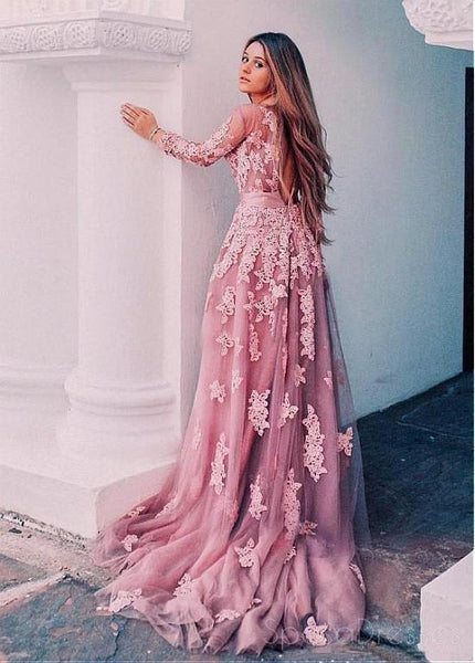 Sexy Open Back Pink Long Sleeve Lace Long Evening Prom Dresses, 17484