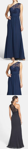 Elegant Navy Blue One Shoulder Lace Chiffon A Line Cheap Bridesmaid Dresses, WG64